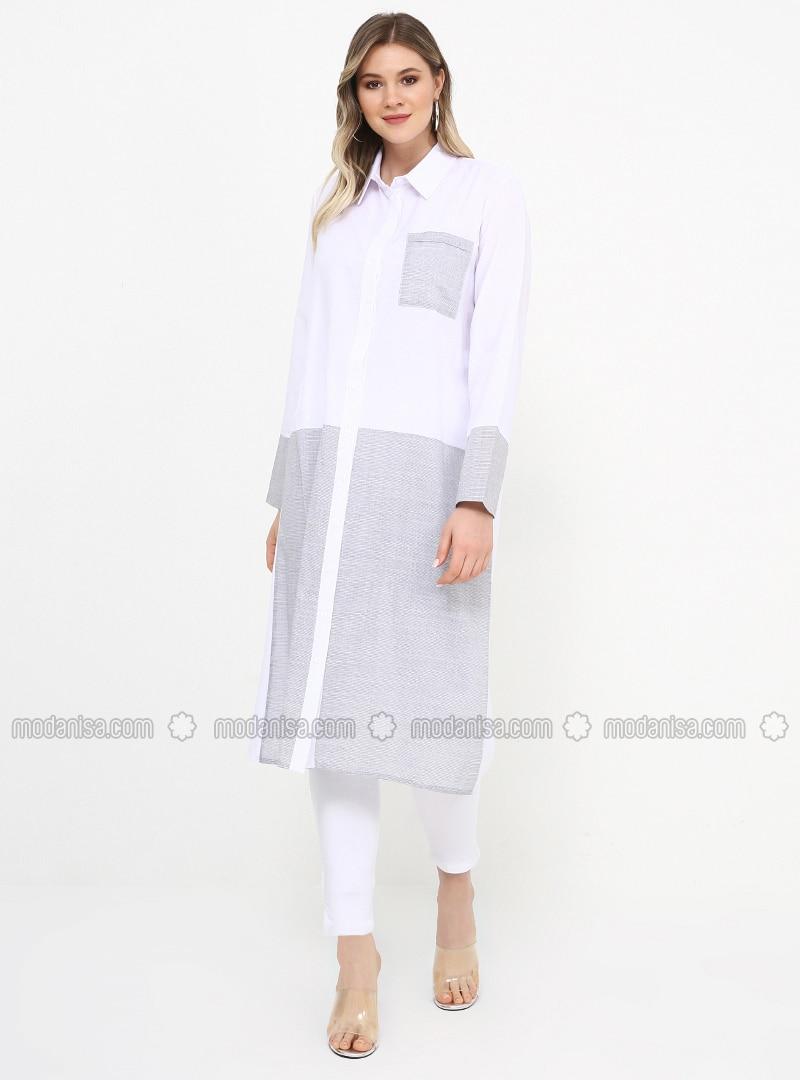 Blue - White - Ecru - Point Collar - Cotton - Plus Size Tunic