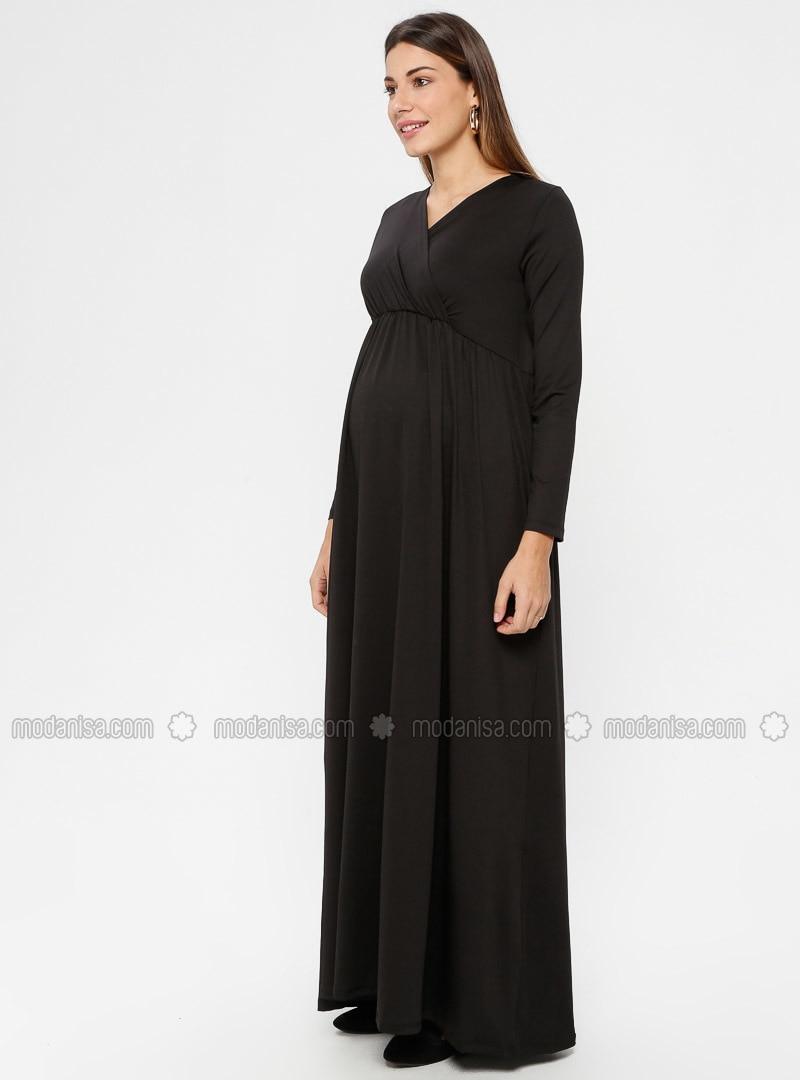 87e0f80f15623 Black - Unlined - V neck Collar - Maternity Evening Dress