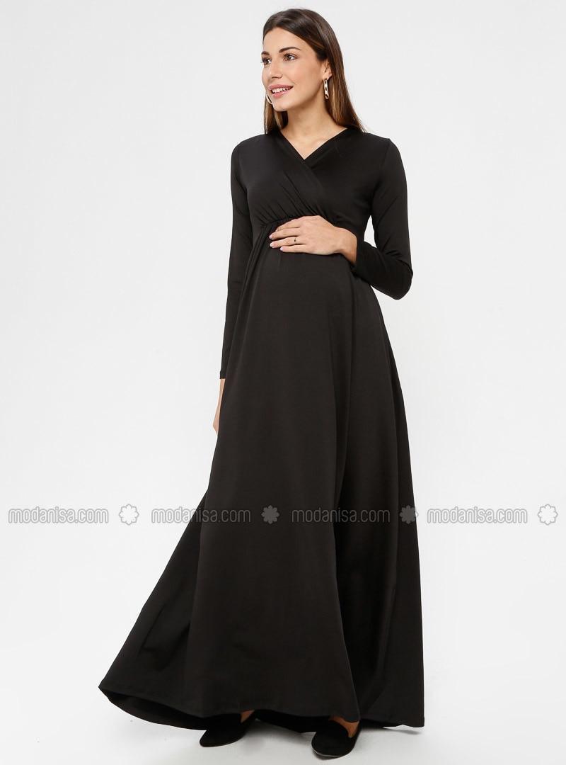 Black - Unlined - V neck Collar - Maternity Evening Dress