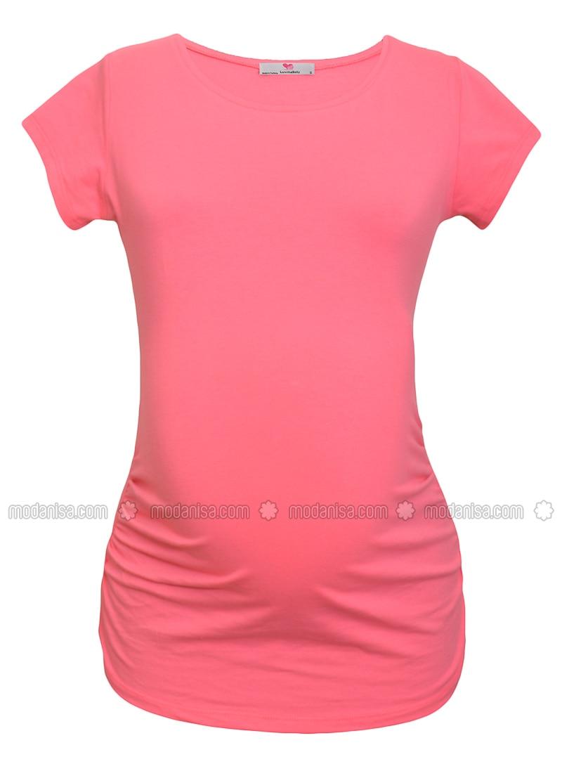Pink - Cotton - Crew neck - Maternity Blouses Shirts