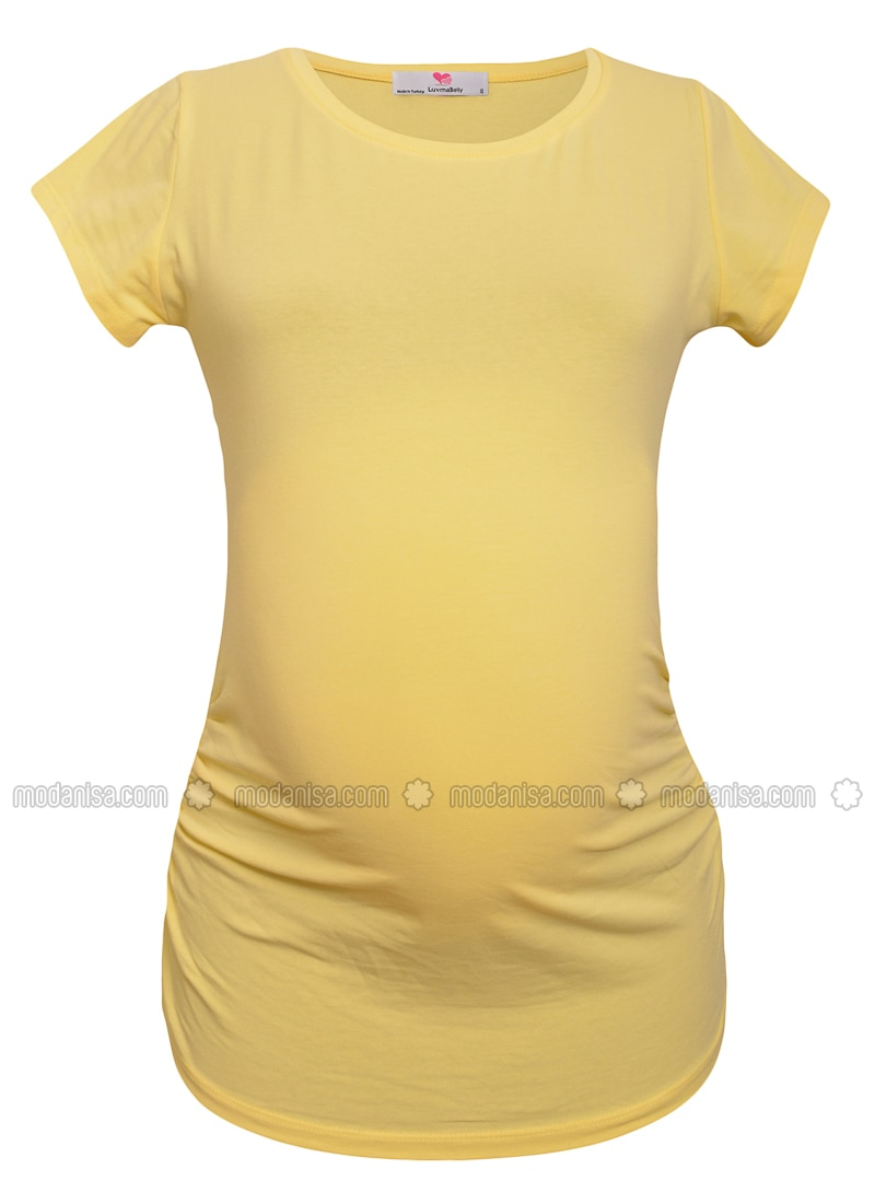 Yellow - Cotton - Crew neck - Maternity Blouses Shirts