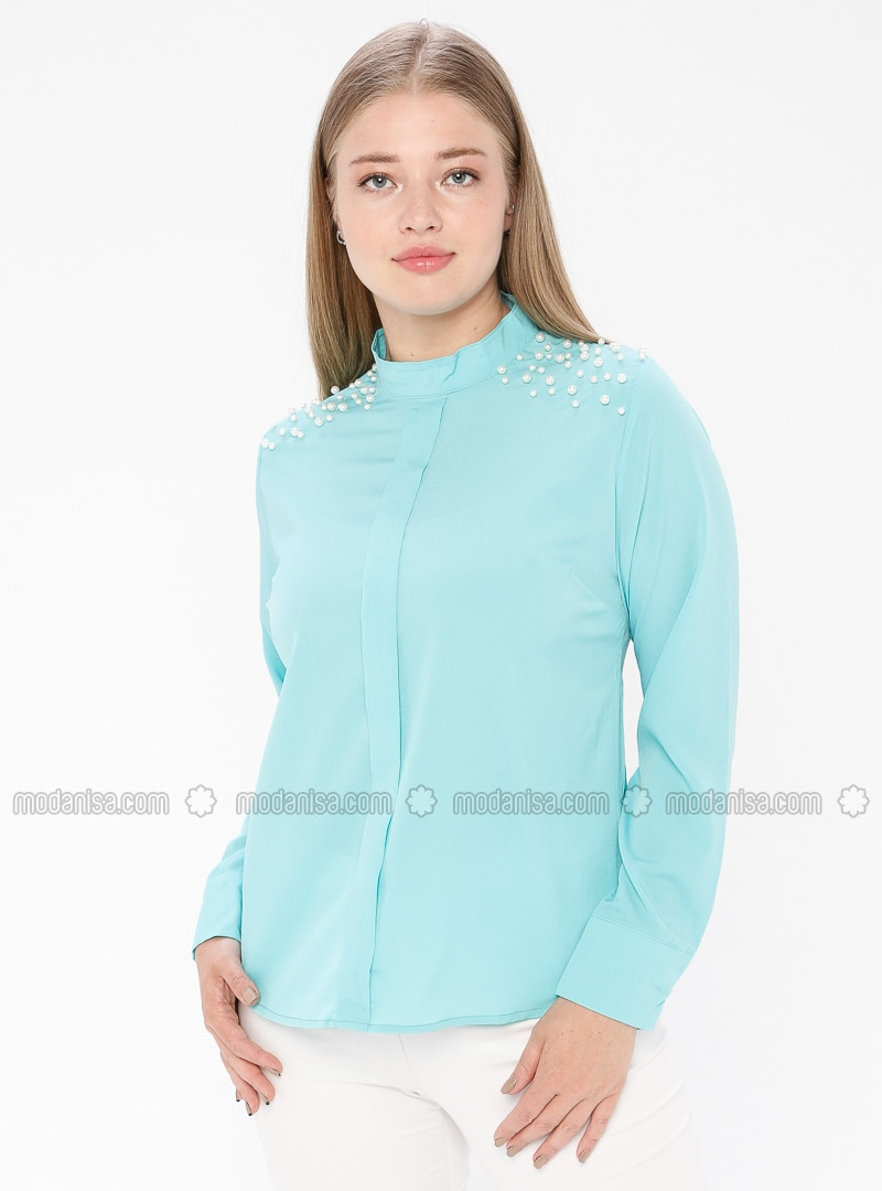 Mint - Polo neck - Plus Size Blouse