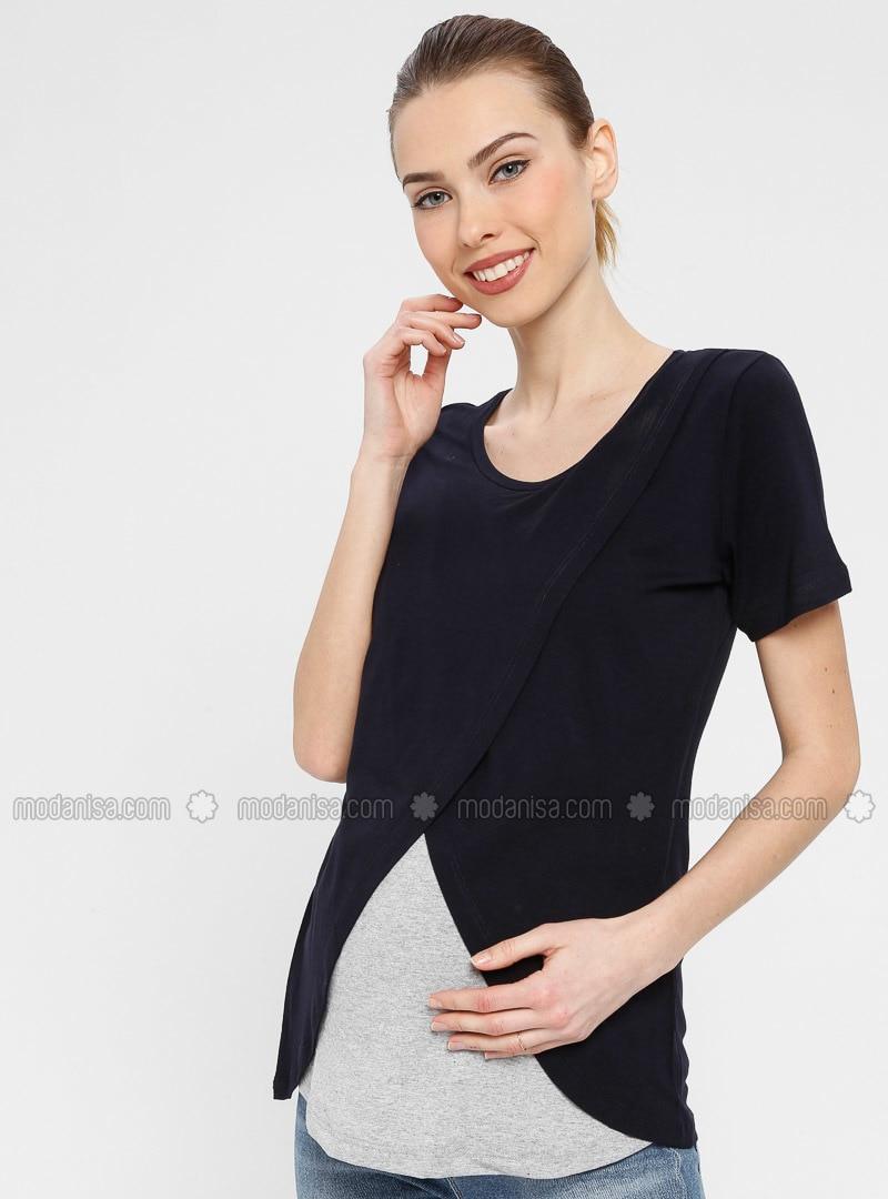 Navy Blue - Gray - Crew neck - Maternity Blouses Shirts