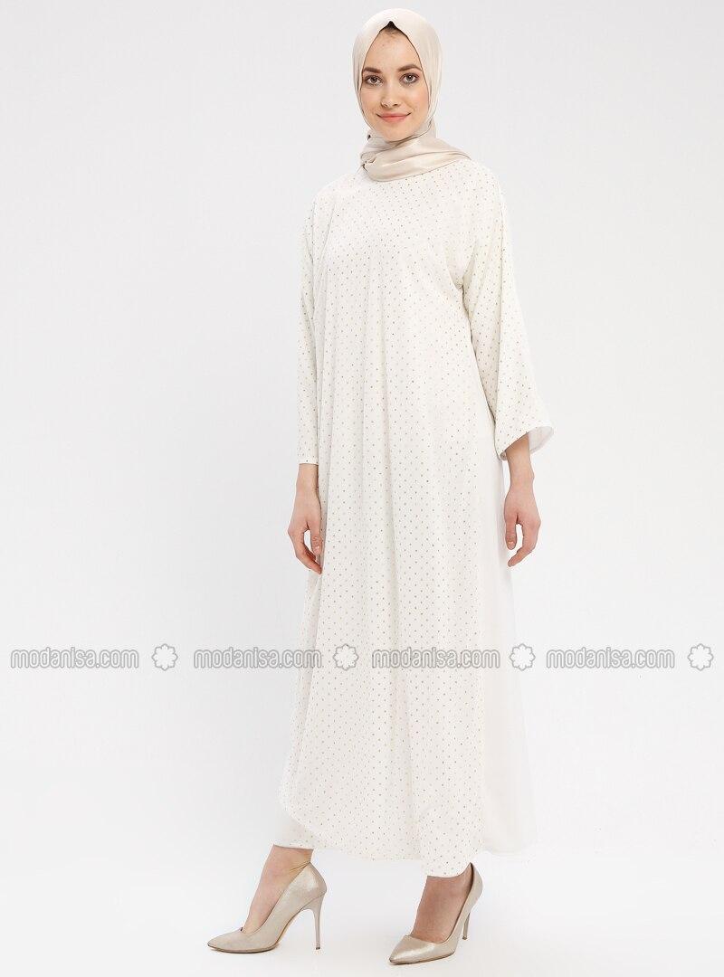 White - Ecru - Polka Dot - Crew neck - Unlined - Dress