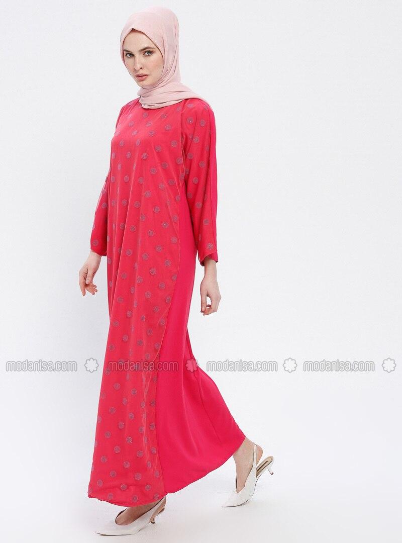 Pink - Fuchsia - Polka Dot - Crew neck - Unlined - Dress