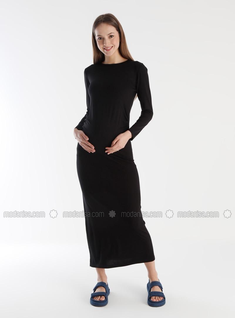 Black - Crew neck - Unlined - Maternity Dress