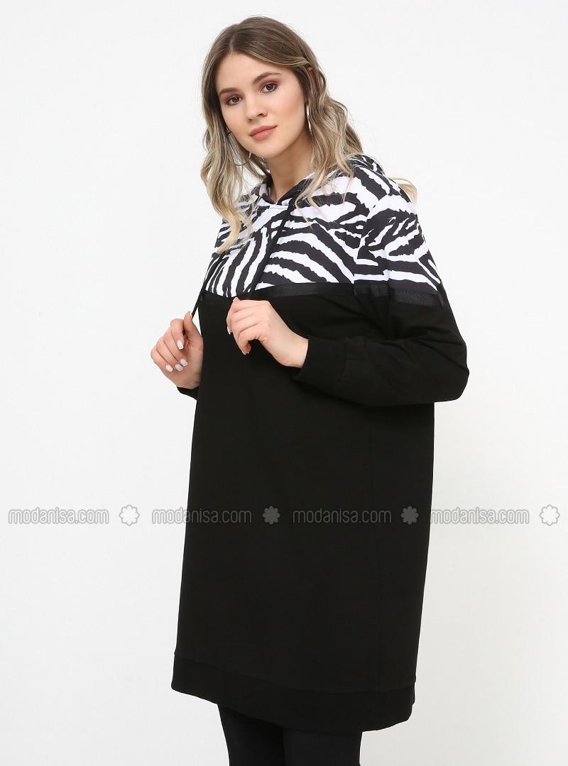 Black - Zebra - Cotton - Plus Size Tunic