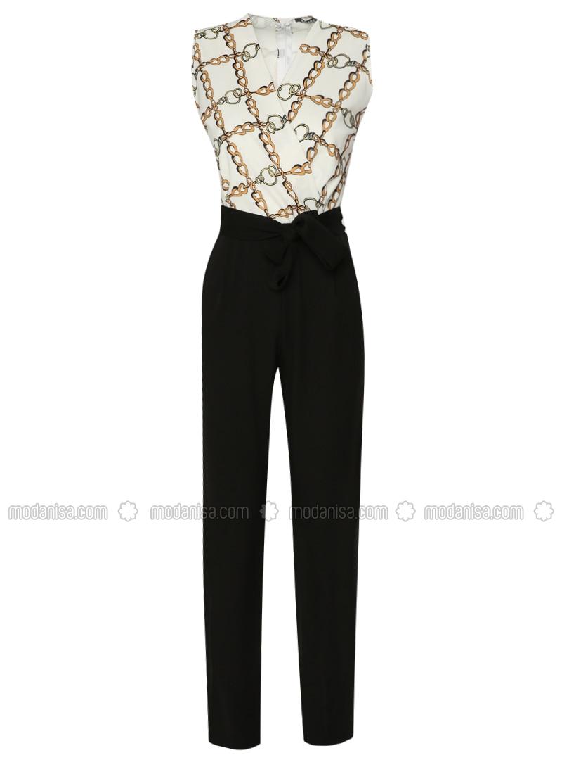 Ecru - Multi - Unlined - V neck Collar - Jumpsuit