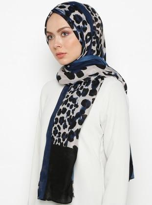 Blue - Leopard - Printed - Shawl