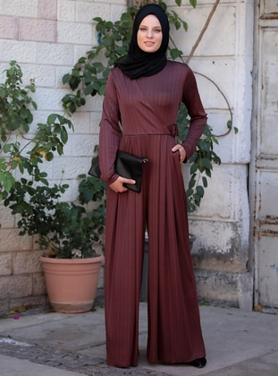 Brown - Unlined - Crew neck - Jumpsuit - Piennar