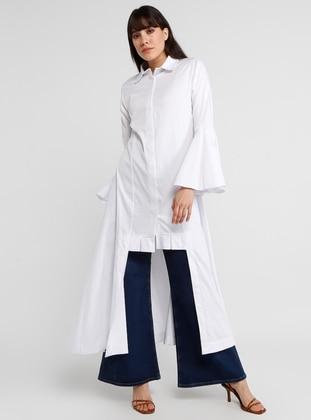 White - Button Collar - Unlined - Cotton - Dress