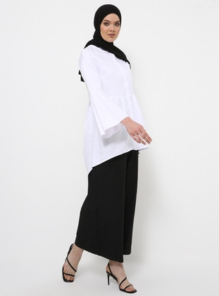 White - Button Collar - Cotton - Tunic