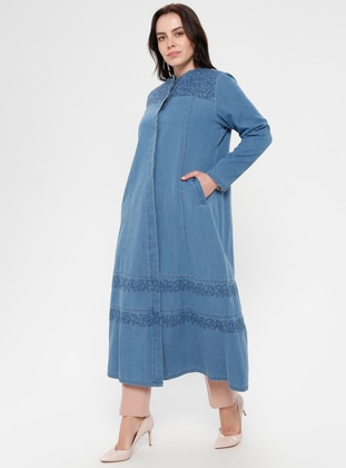 Blue - Unlined - Crew neck - Cotton - Denim - Plus Size Coat - Hanımsa