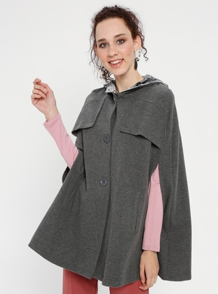 Gray - Button Collar - Unlined - Poncho