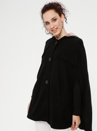 Black - Button Collar - Unlined - Poncho