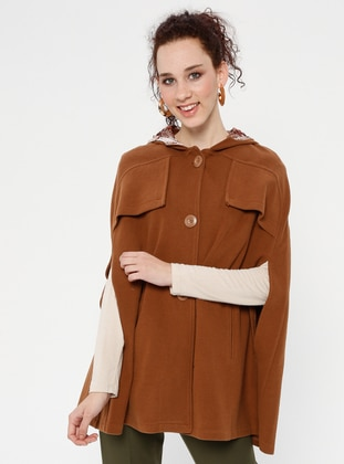 Tan - Button Collar - Unlined - Poncho