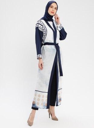 White - Navy Blue - Multi - Unlined - Shawl Collar - Abaya