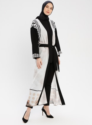 Black - White - Multi - Unlined - Shawl Collar - Abaya