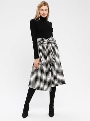 Black - White - Houndstooth - Unlined - Skirt
