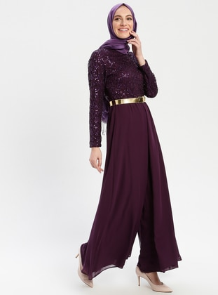 Purple - Fully Lined - Crew neck - Jumpsuit