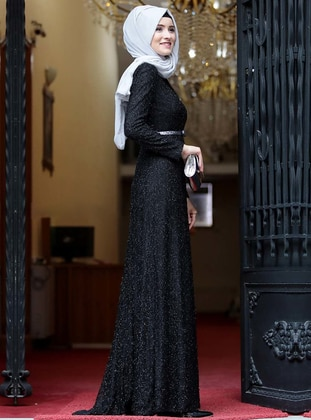 Black - Fully Lined - Crew neck - Muslim Evening Dress - Amine Hüma