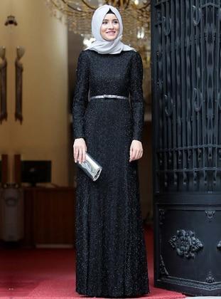 Black - Fully Lined - Crew neck - Muslim Evening Dress - Amine Hüma