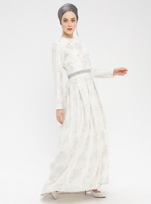 Silver tone - Floral - Fully Lined - Crew neck - Muslim Evening Dress