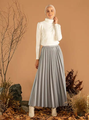 Gray - Fully Lined - Skirt