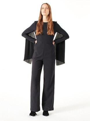 Black - Unlined - Crew neck - Jumpsuit - MİZALLE