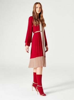 Maroon - Crew neck - Fully Lined - Dress - MİZALLE