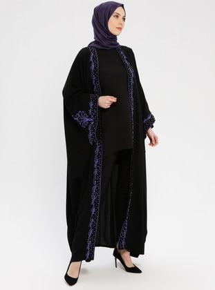 Black - Purple - Unlined - Shawl Collar - Abaya