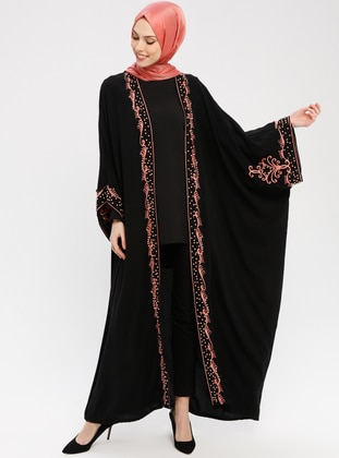 Black - Powder - Unlined - Shawl Collar - Abaya