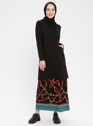Black - Multi - Unlined - Viscose - Skirt