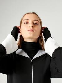 Black - V neck Collar - Blouses - MİZALLE