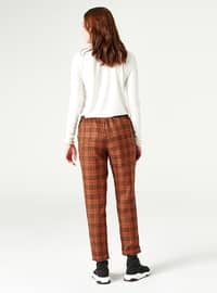 Brown - Plaid - Pants - MİZALLE