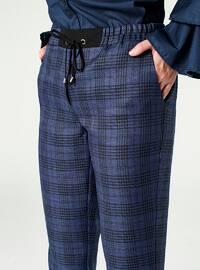 Indigo - Plaid - Pants - MİZALLE