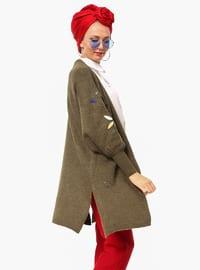 Khaki - Acrylic -  - Cardigan