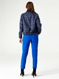 Indigo - Plaid - Fully Lined - Crew neck - Jacket - MİZALLE