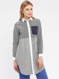 Blue - Navy Blue - Stripe - Point Collar - Cotton - Tunic