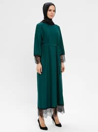 Green - Emerald - Crew neck - Unlined - Dress