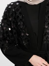 Black - Unlined - Shawl Collar - Abaya