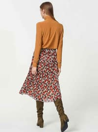 Beige - Fully Lined - Skirt