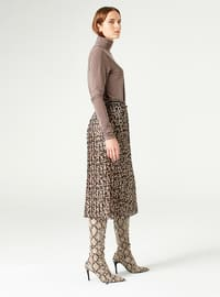 Brown - Multi - Fully Lined - Skirt