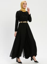 Black - Fully Lined - Crew neck - Jumpsuit