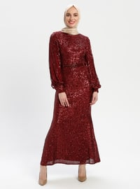 Maroon - Crew neck - Fully Lined - Muslim Evening Dress