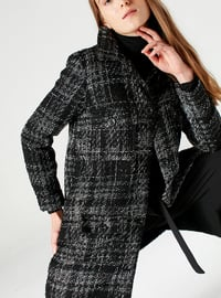 Gray - Plaid - Fully Lined - Jacket - MİZALLE