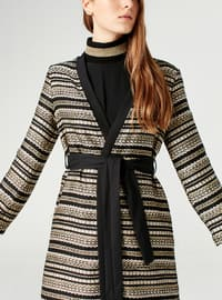 Gold - Stripe - Cardigan - MİZALLE