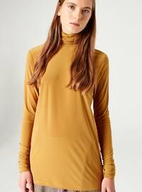 Mustard - Polo neck - Blouses - MİZALLE