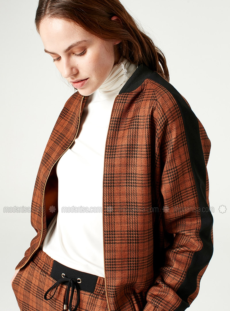 Brown - Plaid - Fully Lined - Crew neck - Jacket - MİZALLE