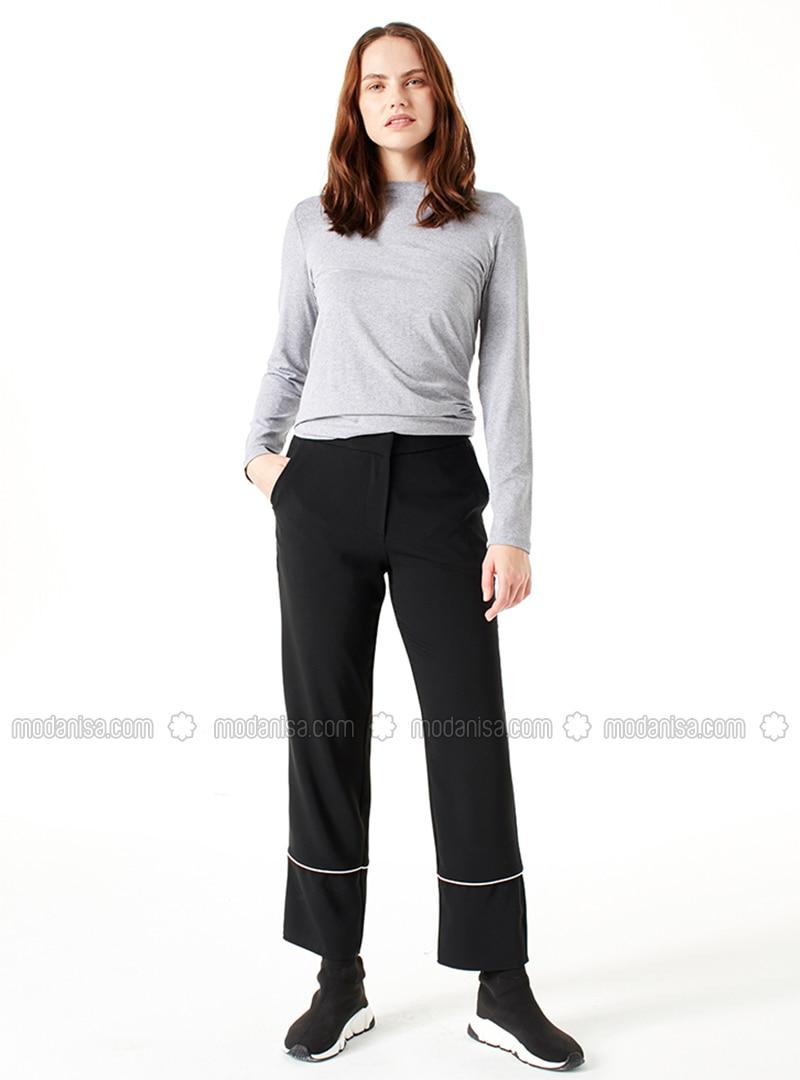 Black - Stripe - Pants - MİZALLE